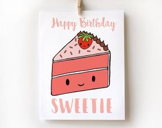 Happy Birthday Sweetie Cake Card Kawaii Cute by HelloSprout