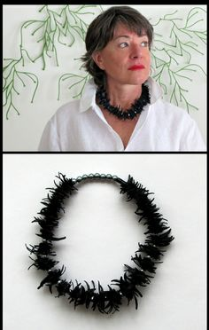 recycled bike inner tubes and gray pearls necklace. #tire jewelry, #tyre jewelry, #black necklace