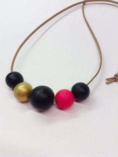 Hand painted wood bead necklace/black/gold/neon hot by MeYouWeUs