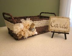 Shabby Basket Wedding Card Holder