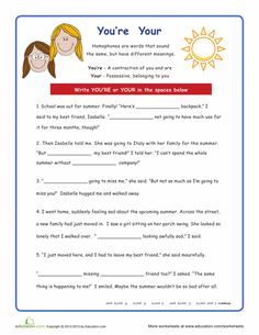 Printables Your You Re Worksheet homophones ea the ojays and worksheets youre your