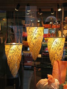 I found these lovely silk Fortuny lamps in Venice.