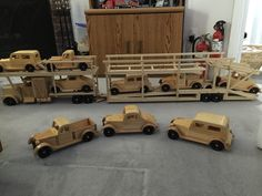 "Car transporter 5'6"" long 9 Cars 14 inches high have to all finished all varnished. ddlalonde@iCloud.com"