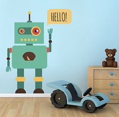 ced394 Full Color Wall decal Sticker Robot hello bedroom kids nursery in Home & Garden, Home Décor, Decals, Stickers & Vinyl Art | eBay