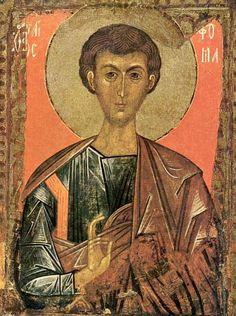 Thomas Apostel.. < 1375. Icoon door Novgorod.  Rusland, St-Petersburg, Russisch museum.