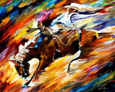 PRODUCT DESCRIPTION      Title: Rodeo — PALETTE KNIFE Oil Painting On Canvas    Size:60cm x 50cm (24″x20″)    Condition:Excellent Brand New    Medium:100% hand paintedoil painting on Canvas – Recreation of an older painting    Signature: Signed by the Artist    Frame: Gallery Wraped and Ready to Hang        About this oil painting:    RODEO    This recreation is 100% hand painted by a professional artist using oil paint, canvas and palette knife.    It's not an identical copy; it's a…