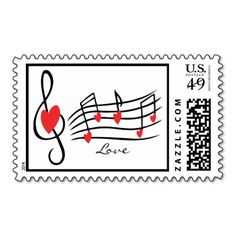 Music Notes Hearts Love Postage Stamps