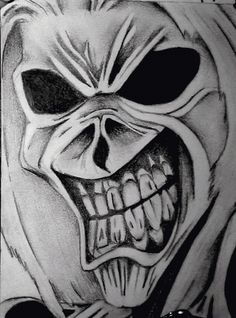 A friend of mine asked me to make a drawing to put on the cover of one of is personal Iron Maiden compilation CD. This is what came of it: Hes a sniper, or a hitman. So, this fits well for a . Evil Skull Tattoo, Skull Tattoo Design, Skull Tattoos, Art Tattoos, Dark Art Drawings, Pencil Art Drawings, Skull Drawings, Arte Pink Floyd, Iron Maiden Posters