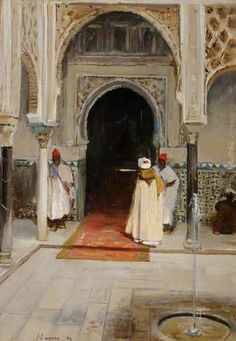 Sir John Lavery (Irish, Dar el Cadi, Interior of a Mosque. Portrait Photos, Irish Painters, Glasgow Museum, Oriental, Misty Day, Paisley Art, Arabian Art, National Portrait Gallery, Historical Art