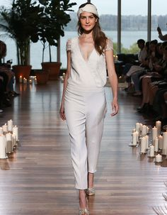 Fall in love with this tailored Laure de Sagazan romper and these 13 other gorgeous trends seen at Bridal Fashion Week 2018 Wedding Dresses Trends, Bridal Wedding Dresses, Bridal Style, Wedding Venues, Fashion Week 2018, Bridal Fashion Week, Laura Lee, Wedding Jumpsuit, Pantsuits For Women