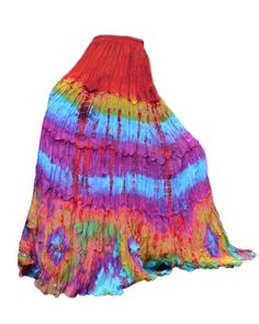 Colorful Tie Dye Maxi Long Skirt Tiered Ruffle by BenThaiProducts