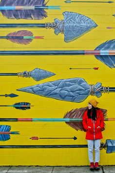 Arrows (Previously Koi) by Blaine Fontana 916 SE Hawthorne Blvd Portland, OR 97214 Visit Portland, Portland Oregon, Mill Ends Park, Fountain Park, Mural Art, Murals, Crater Lake National Park, Cathedral City, Oregon Travel