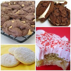 Cake Mix Cookies, Homemade Oreos, Sugar Cookie Bars, Zesty Lemon Cookies; and not pictured: Easy Sugar Cookies, Chocolate Chip Cookies, Root Beer Cookies