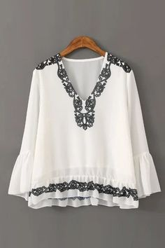 Fold Style V Neck Floral Print Long Sleeve Blouse with Frilled Detail - US$19.95 -YOINS