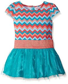 Youngland Little Girls' Jersey Chevron Printed Drop Waist Tutu Dress, Turquoise/Multi, Baby girl sizes come with a diaper cover. Girls Casual Dresses, Girls Dress Up, Baby Girl Dresses, Little Dresses, Girl Outfits, Cute Outfits, Girls In Leggings, Autumn Fashion Casual, Girls Sweaters