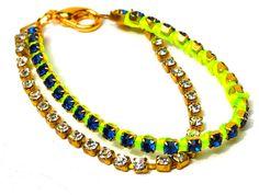 Friendship Bracelets Neon with Finest Rhinestones by delmarlady, $34.00