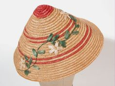 Sun hat, 1950 | Materials: raffia, straw, string | National Trust Collections