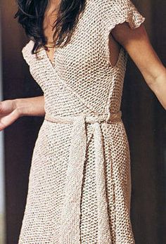 Free Knitting Pattern for Wrap Dress or Tunic - Classic versatile wrap dress with belt knit in seed stitch in bulky yarn. Perfect as an easy summer dress or for layering or even as a beach coverup. Chest from 34″ to 40″. Excerpted by Canadian Living from Wedding Knits by Suss Cousins.