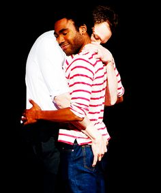 Joel McHale + Donald Glover bromance. So sad to hear Donald won't be on the whole season of Community. I know it's coming to an end and I will miss it dearly.