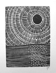 LINOLSCHNITT Drucken  Sky auf dem Ozean print 8 x von thebigharumph