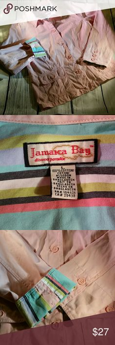 Jamaica Bay size large light weight jacket Very light pink or salmon color Size large, light weight, 100% cotton, button up style jacket by Jamaica Bay and made in Bangladesh.  The cuffs can either be worn normally or turned up to show a striped patern with a nice variety of complimentary colors Jamaica Bay Jackets & Coats