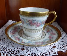 Beautiful Haviland Limoges Demitasse Cup And Saucer Ornate Floral Gold Roses Antique 1900-1910