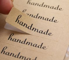 80 Classic Script Font HANDMADE Rectangle Brown Kraft Sticker Labels Seals 1/2 x 1 3/4 inch. $4.95, via Etsy.