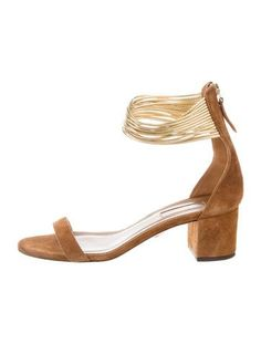 #AQUAZZURA | Camel suede Aquazzura sandals with multistrap details at ankles, covered heels and zip closures at counters.
