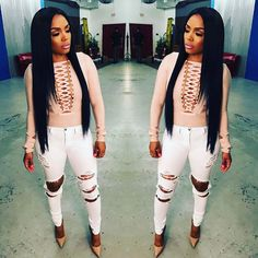 """16.5k Likes, 96 Comments - Rasheeda (@rasheedadabosschick) on Instagram: """"My favorite white jeans are back in-stock!!! Grab the """" My White Distressed Jeans"""" now available…"""""""
