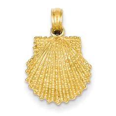 14k Textured Scallop Shell Pendant