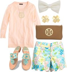 southernbombshell23: Lilly and Jack! por pearlsplease con tory burch clutches ❤ liked on Polyvore J.Crew rainbow sweater / Lilly Pulitzer scalloped shorts / Jack Rogers blue sandals / Tory Burch clutch / Tory Burch stud earrings