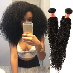 100g/pc Natural Black  Real Human Hair Extension Curly Hair Wave Virgin Hair  #WIGISS #HairExtension