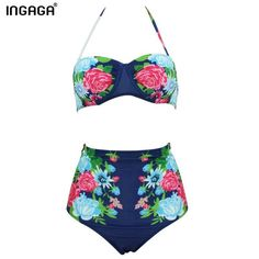 37a327919fa32 INGAGA 2016 Sexy Bikinis Set High Waist Swimsuit Swimwear Women Floral  Strap Push Up biquini Beachwear