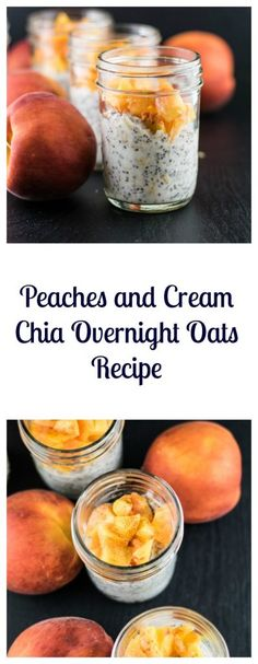 Peaches and Cream Chia Overnight Oats is a super easy, healthy, and delicious grab and go vegan breakfast! | Beer Girl Cooks