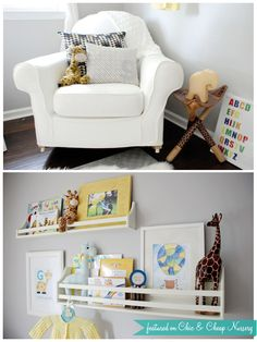 Gray, Yellow and white nursery. Collector shelves from Pottery Barn