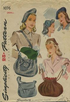 Vintage Hat Sewing Pattern | Simplicity 1076 | Year 1944 | Head Size 21 | Beret, Hat, Shoulder Strap Bag, Drawstring Bag
