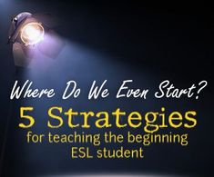 A great read! Where Do We Even Start? 5 Strategies for Teaching the Beginning ESL Student
