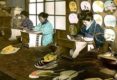 """MAKING FANS IN OLD JAPAN --  The """"Uchiwa"""" Girls Hard at Work by Okinawa Soba, via Flickr. From a ca. 1905-20 hand-tinted glass lantern-slide by T. ENAMI of Yokohama"""