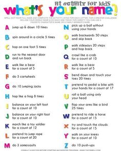 Ab Workouts At Home Discover Spell Your Name Workout - Whats Your Name? Fitness Activity Printable for Kids Whats your name? Fitness activity printable for kids. Your kids will get a workout without realizing it when you make fitness into a fun game. Physical Activities For Kids, Exercise Activities, Wellness Activities, Name Activities, Movement Activities, Fitness Activities, Exercise For Kids, Learning Activities, Physical Education