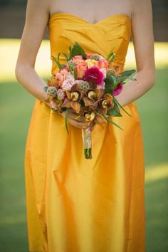 Fab and fresh bouquet by Petal Pushers! Photo by James Walton Photo. #wedding #bouquet #pink #gold #yellow #fall