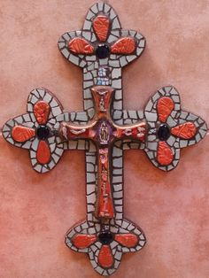 "Large Mosaic Wall Cross - with ""Milagro"" cross in center by New Mexico Artist Susanne Baca"