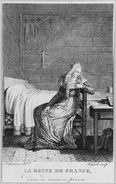 """Forsell after Deseine, Marie-Antoinette at the Conciergerie: """"la reine de France dans sa dernière prison"""""""