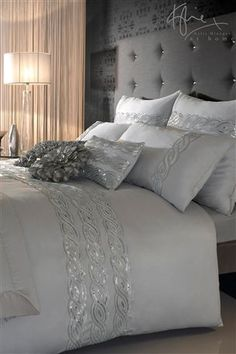 divine bedroom from the white company with high buttoned headboard