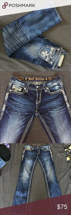 Rock Revival Berry / Straight Dark Wash Worn only a couple times, extremely comfortable boot cut Rock Revival Jeans Straight Leg