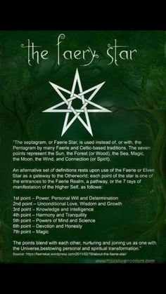 the faery star for celtic-based traditions Wiccan Witch, Witchcraft Spells, Book Of Shadows, Occult, Faeries, Spelling, Witches, Mythology, Crystals
