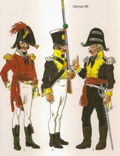 Regno di Spagna - Infantry. Captain of Regt Cortes and Fusilier and Officer of Regt.Toledo