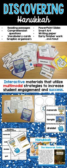 This holiday season, use informational texts and research of the history and traditions of Hanukkah for grades 1-3 by teaching a unit that integrates ELA and social studies at the same time! The materials in this unit are interactive and utilize multimodal strategies to increase student engagement and outcomes. The research unit is a comprehensive week long unit that integrates technology, vocabulary, writing, art, reading strategies and more!