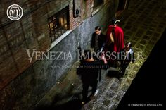 Riccardo ed Erik [attori] con Francesco Wolf [protagonista] e Alessandro Durigon.  Location: Venezia.