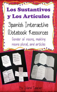 Spanish Interactive notebook foldable templates for learning and practicing making nouns plural, gender of nouns, and definite and indefinite articles.