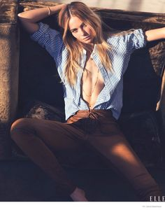 Bridget Malcolm Wears Ralph Lauren Polo in Sexy ELLE Photos